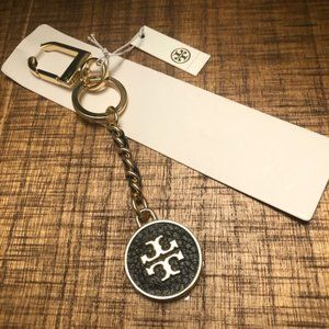 🍋 Tory Burch leather inlay gold keychain